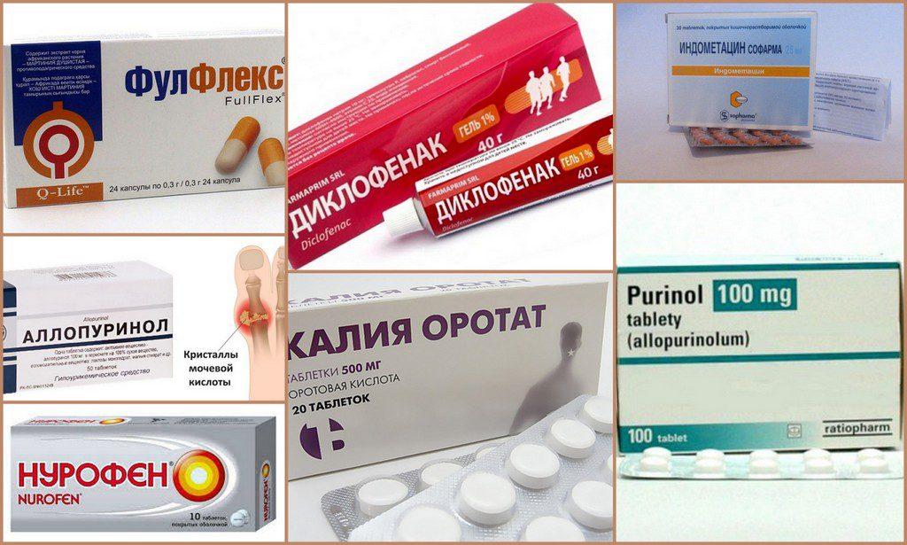 Примеры медикаментов для лечение подагры